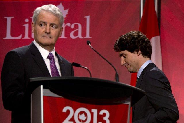 Marc Garneau et Justin Trudeau, lors d'un débat... (Photo: archives PC)