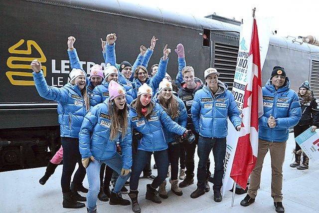 La délégation canadienne était tout sourire mardi lors... (Collaboration spéciale Brigitte Lavoie)