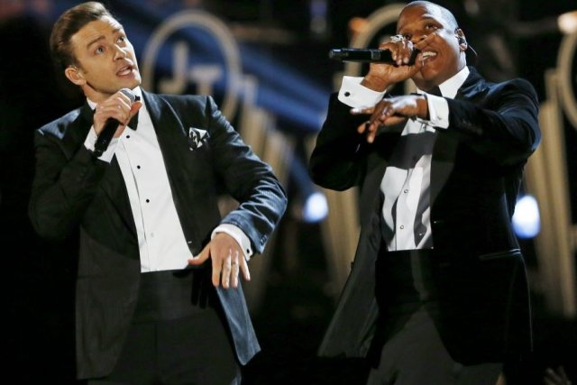 Justin Timberlake et Jay-Z ont chanté ensemble lors... (Photo: Reuters)