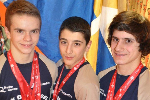 Les gymnastes Samuel Gaudet-Pellerin, Parsa Yadollahi et Zakari... (PHOTO LE DROIT)