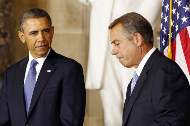 Barack Obama en compagnie du président républicain de... (PHOTO KEVIN LAMARQUE, ARCHIVES REUTERS)