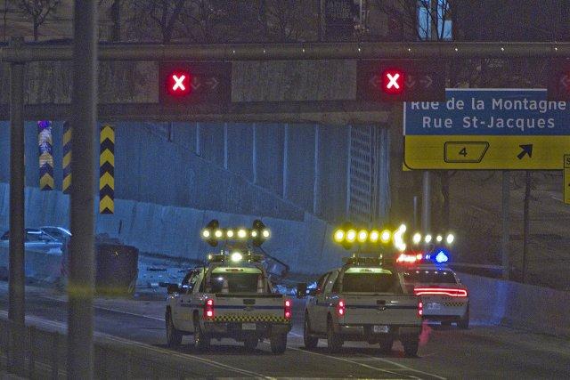 La collision est survenue vers 3h30 cette nuit.... (Photo: Félix-Olivier Jacques Fournier)