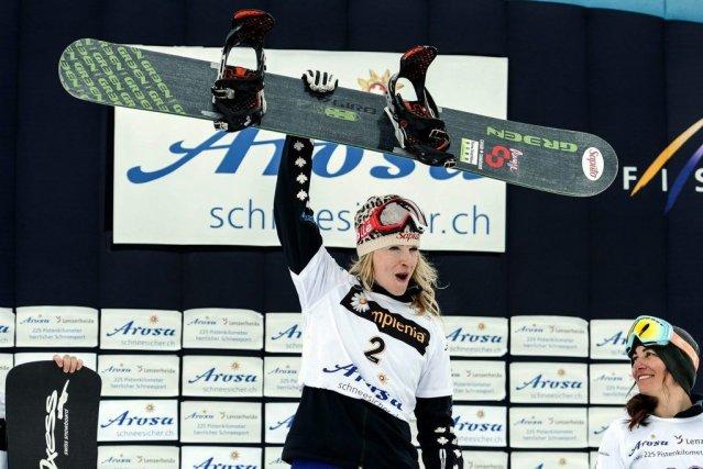 La Québécoise Dominique Maltais se réjouit dela médaille... (Samuel Truempy)