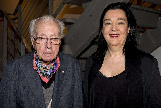 Le peintre et sculpteur Marcel Barbeau en compagnie... (Photo: Alain Roberge, La Presse)