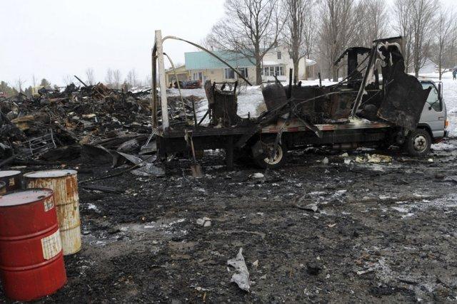 L'incendie de la grange de plus de 100... (photo Danièle Francis)
