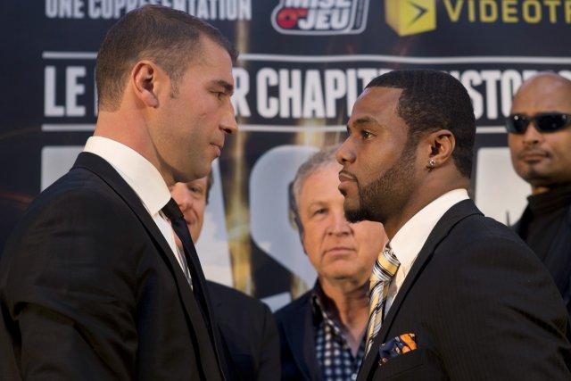 Lucian Bute et Jean Pascal se sont regardés... (Photo Robert Skinner, La Presse)