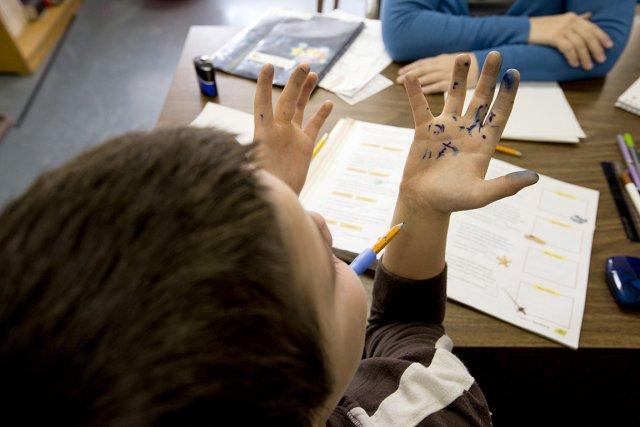 Pendant 15 premières minutes de la journée, l'enseignante... (Photo: Alain Roberge, La Presse)