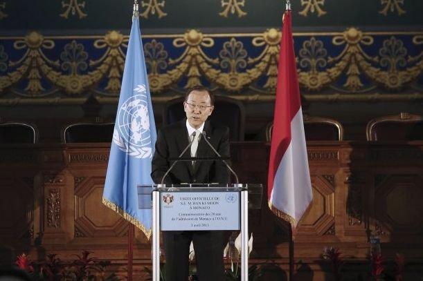 Le secrétaire général des Nations unies Ban Ki-moon... (PHOTO VALERY HACHE, AFP)