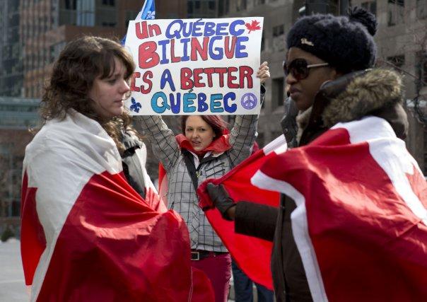 Manifestation contre le projet de loi 14 sur... (PHOTO ROBERT SKINNER, LA PRESSE)