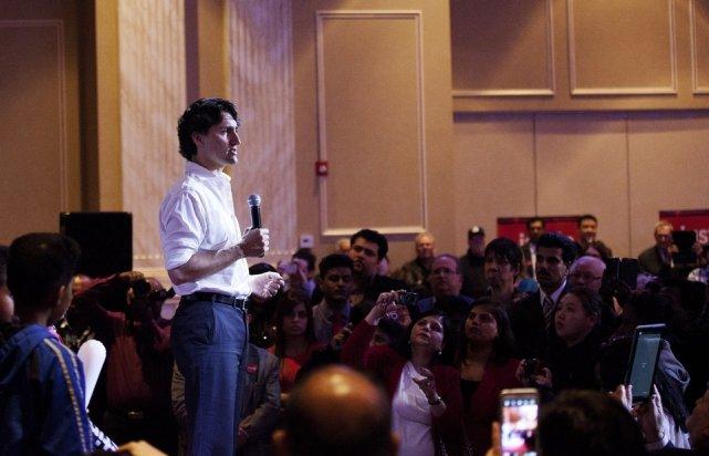 Justin Trudeau lors d'un ralliement politique à Toronto... (Photo Michelle Siu, La presse Canadienne)