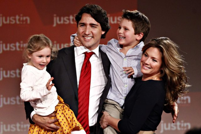 Justin Trudeau, sa femme Sophie Grégoire, leur fils... (Photo: Reuters)