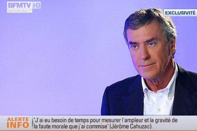 Jérôme Cahuzaca répété avoir «menti» au président François... (IMAGE AFP/BFM TV)
