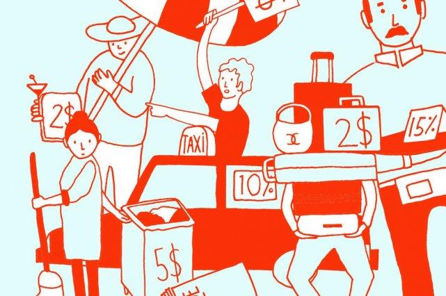 Autres pays, autres façons de témoigner son appréciation pour les services... (Illustration Charlotte Demers-Labrecque, La Presse)