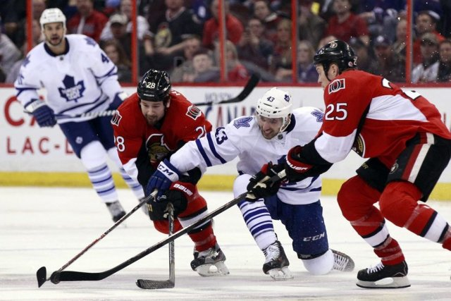 Les Sénateurs d'Ottawaont été défaits 4-1 parles Maple... (PHOTO BLAIR GABLE, REUTERS)