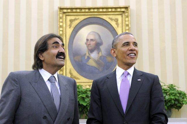 Barack Obama et l'émir du Qatar mardi dans... (Photo: AFP)
