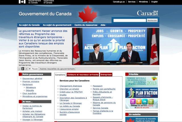 Du bleu, et partout: les sites web du gouvernement du Canada seront désormais... (Photo tirée d'internet)
