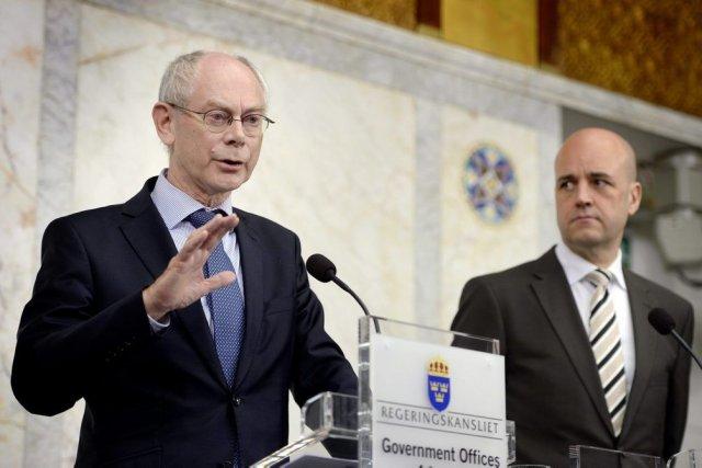 Herman Van Rompuy (à gauche), le 7 mai... (Jessica Gow)