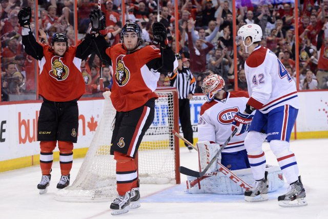 Le but controversé de Mika Zibanejad (deuxième en... (Photo: Sean Kilpatrick, PC)
