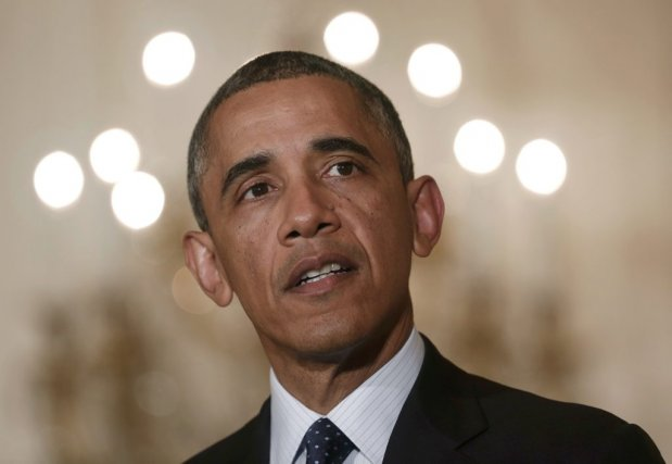 Barack Obama a effectué une courte intervention à... (PHOTO KEVIN LAMARQUE, REUTERS)