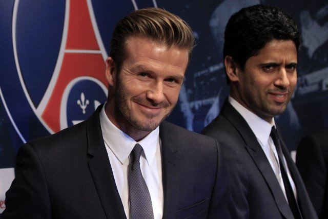 David Beckham et le président du Paris Saint-Germain,... (Photo Gonzalo Fuentes, Reuters)
