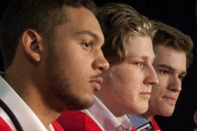 Seth Jones, Nathan MacKinnon et Jonathan Drouin... (Photo Liam Richards, La Presse Canadienne)