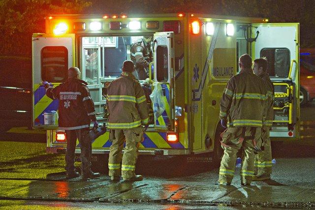 Les blessés ont été transportés à l'hôpital.... (Photo: Félix-Olivier Jacques Fournier, collaboration spéciale)