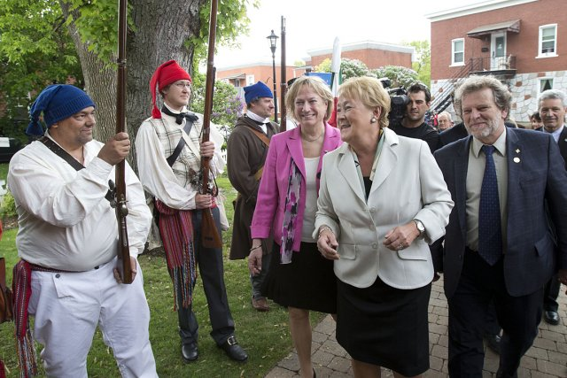 La première ministre du Québec, à son arrivée... (Photo: Robert Skinner, La Presse)