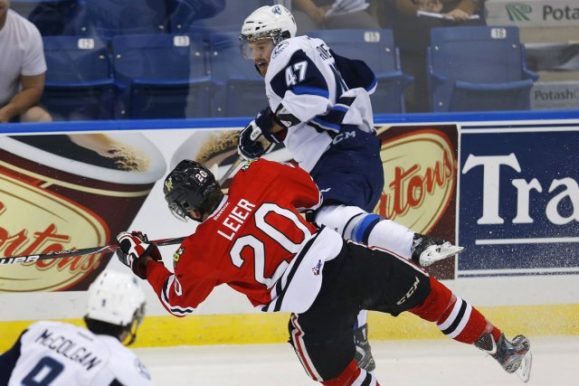 Dalton Thrower (47), des Blades de Saskatoon, a... (Photo Todd Korol, Reuters)