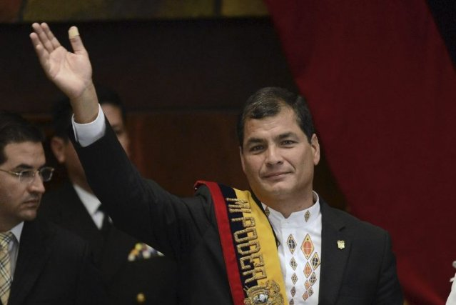 Le président équatorien, Rafael Correa, lors de l'inauguration... (PHOTO RODRIGO BUENDIA, AFP)