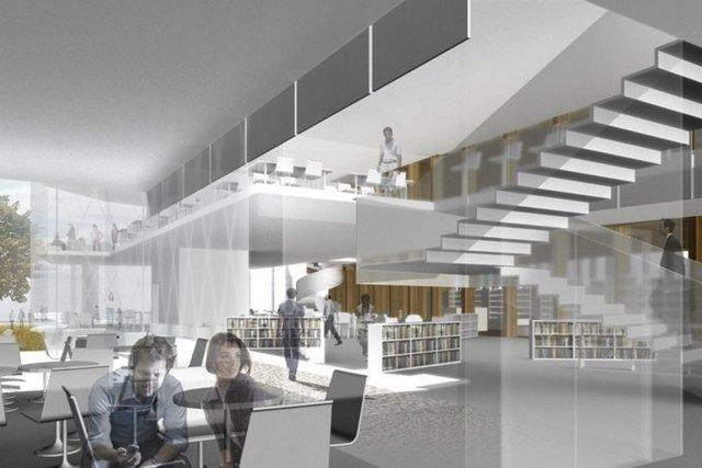 Oubliez l'image de l'antre poussiéreux: la bibliothèque Marc-Favreau, qui... (Photo fournie par Dan Hanganu Architectes)