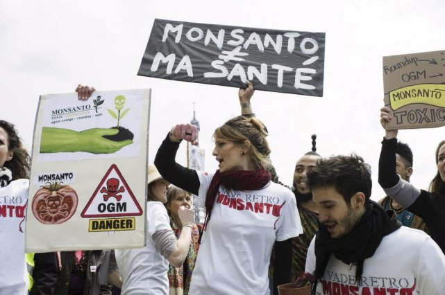 Des manifestants protestent contre Monsanto à Paris.... (Photo Fred Dufour, Agence France-Presse)