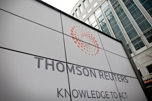 Le groupe canado-américain d'informations Thomson Reuters (T.TRI) ,... (Photo Shuan Curry, archives AFP)