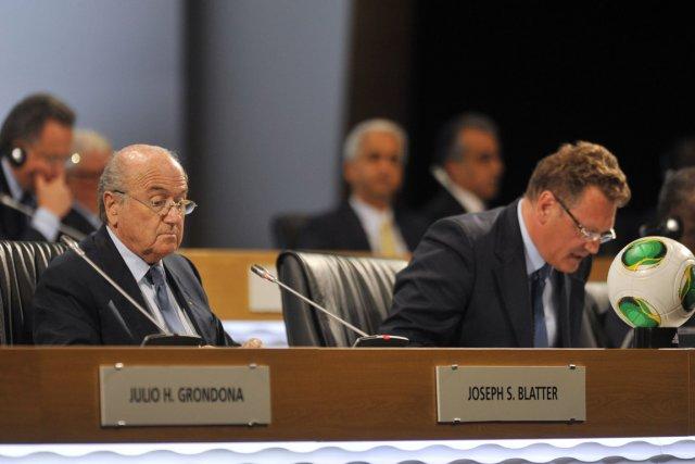 Le président de la FIFA Sepp Blatter au... (Photo : George Michel, AFP)