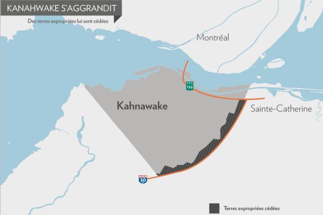 Kahnawake prend de l'expansion, au grand dam des villes avoisinantes. On vient... (Infographie, La Presse)