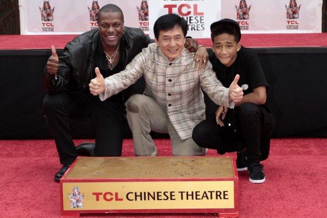 Chris Tucker, Jackie Chan et Jaden Smith... (Photo Jonathan Alcorn, Reuters)