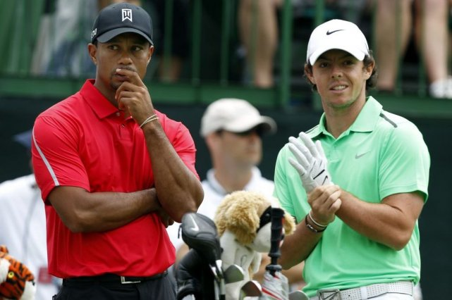 Tiger Woods et Rory McIlroy... (Photo Matt Sullivan, Reuters)
