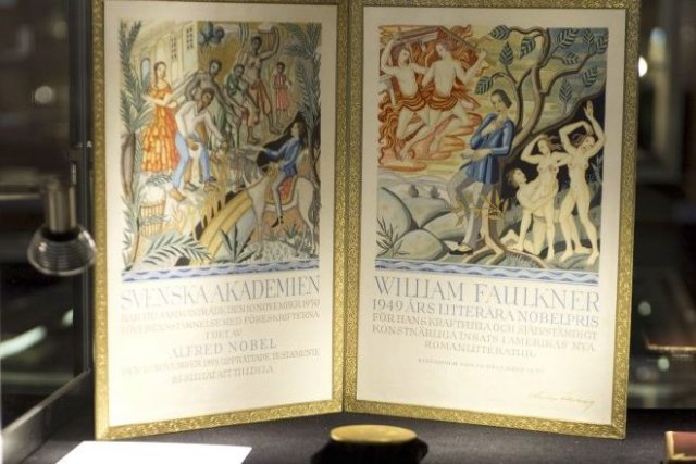 La médaille du prix Nobel de littérature 1949... (DON EMMERT)