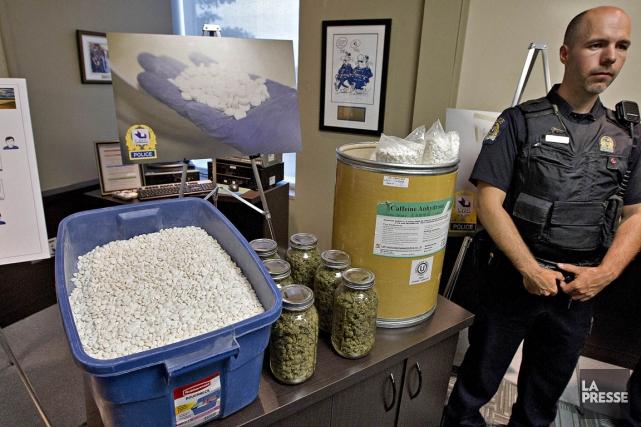 L'imposante quantité de comprimés chimiques aurait été fabriquée... (Photo Patrick Sanfaçon, La Presse)