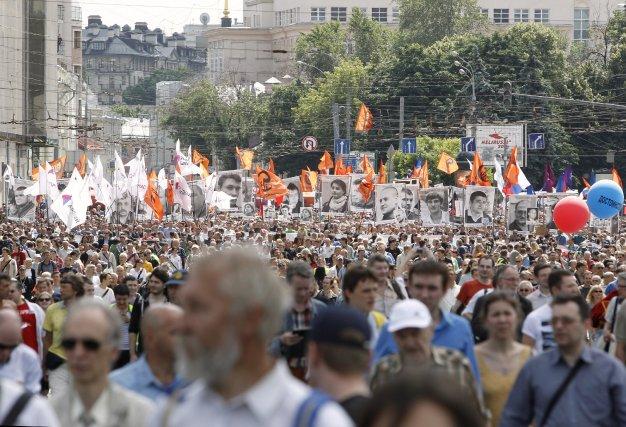 Le nombre de manifestants mercredi était bien loin... (PHOTO SERGEI KARPUKHIN, REUTERS)
