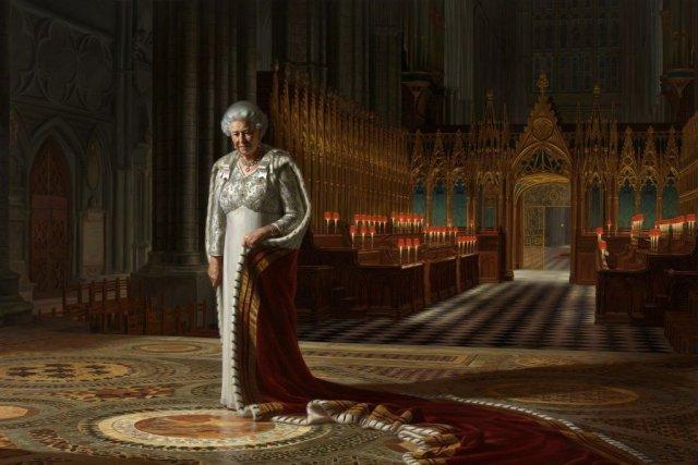 Le portrait Le théâtre du couronnement représente Elizabeth... (Photo: AFP)