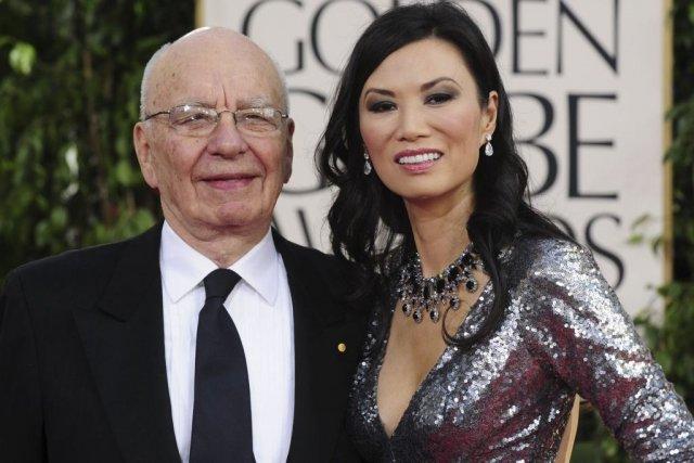 Rupert Murdoch en compagnie de sa troisième femme,... (Photo: archives AFP)