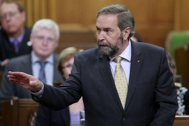 Le chef néo-démocrate Thomas Mulcair s'est excusé, jeudi, après un incident au... (Photo Blair Gable, Reuters)