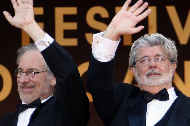 Steven Spielberg et George Lucas... (Photo Francois Guillot, AFP)