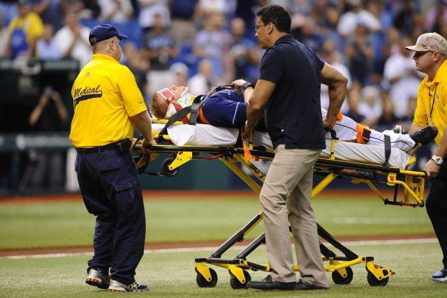 Alex Cobb a été atteint à la tête... (Photo : Brian Blanco, AP)