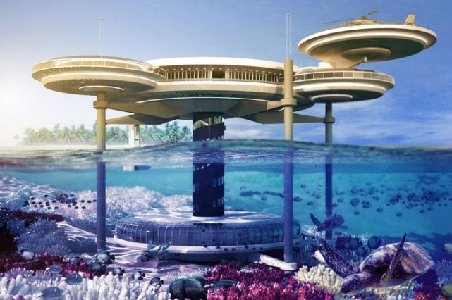 Rendu 3D du Water Discus Hotel aux Maldives.... (Photo fournie par Water Discus Hotel/Deep Ocean Technology)