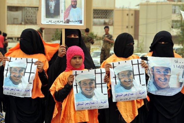 Des proches du prisonnierAbdel Rahman al-Shabati manifestent pour... (PHOTO GAMAL NOMAN, AFP)