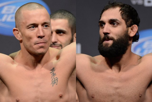 Georges St-Pierre et Johny Hendricks... (Photos Bernard Brault, La Presse)