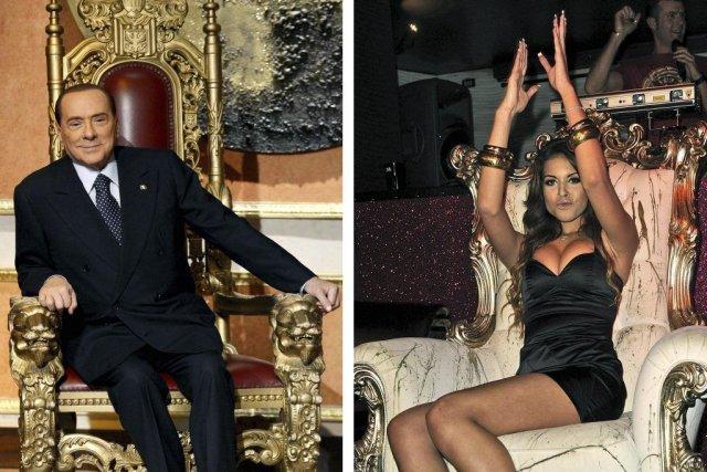 Silvio Berlusconi et la jeune Marocaine Karima El... (PHOTOS ALBERTO LINGRIA ET GIUSEPPE ARESU, AFP)