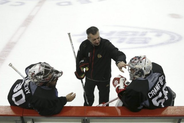 Ray Emery, Stéphane Waite et Corey Crawford.... (Photo Charles Rex Arbogast, Associated Press)
