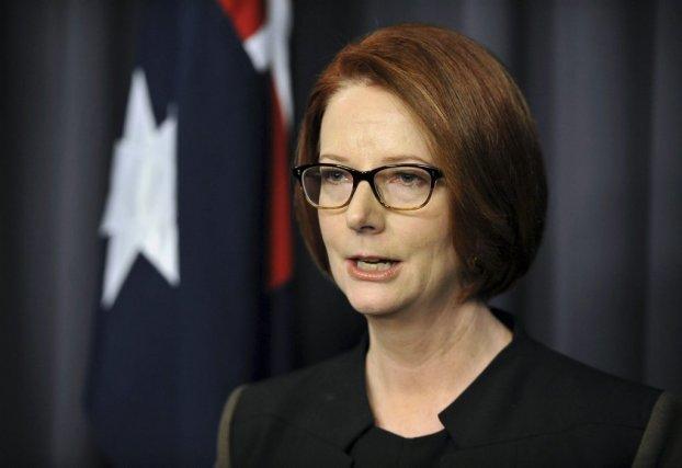 La première ministre australienne Julia Gillard, parlant au... (STRINGER)